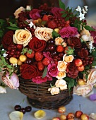 Summer bouquet with berries and cherries