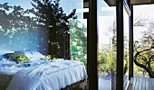Sleeping area with superb view through wide, double-glazed sliding doors
