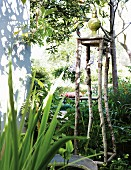 Garden sculpture on pedestal made from branches next to corner of house in sunny garden