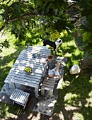View down onto child and dog in dining area in sunny garden