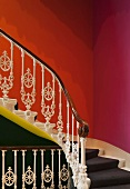 Detail of staircase with ornamental balustrade (Goethe Institute, London)