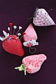 Hand-sewn, strawberry-shaped pin cushions