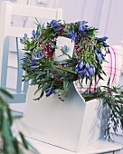 Wreath of eucalyptus and agapanthus