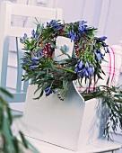 Wreath of eucalyptus and agapanthus