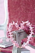 Heart-shaped wreath of pink hyacinth florets