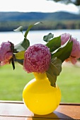 Pink peonies in yellow vase on wooden surface