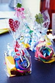 Bags of party supplies as party favours