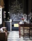 Vintage kitchen with dark walls and chequered floor