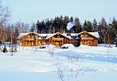 Terrace log cabins in snowy winter landscape