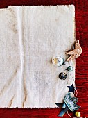 Christmas decorations on old cotton cloth