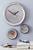 Tart tins upcycled into wall clocks