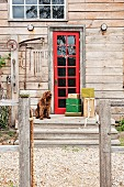 Wrapped presents and dog in front of red exterior door of rustic wooden house