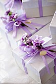 Lilac bombonieres as wedding favours