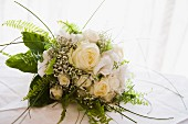 Bridal bouquet with white and yellow roses