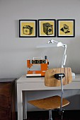 Sewing table with sewing machine, table lamp & wooden swivel chair