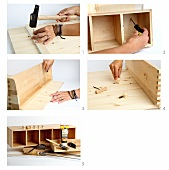 Building a wooden wall storage unit and back panel, spruce, the corners are joined together with screws