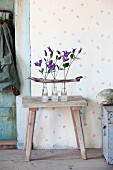 Clematis flowers in three glass bottles and driftwood arranged on wooden stool in vintage ambiance