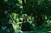 Bepflanzte Amphore auf beranktem Mauerpodest in üppigem Landschaftsgarten