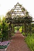 Mit blühenden Rosen (New Dawn) bewachsenes, zeltförmiges Pergoladach über rotbraunem Kiesweg in einem weitläufigen Garten