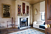 Fireplace decorated with unusual collectors' items
