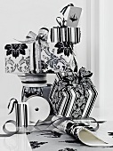 Presents packed in black and white and ribbon