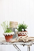 Narrow decorative trim crocheted from jute yarn on flower pots
