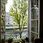 View of the Seine through open French window with wrought iron balustrade