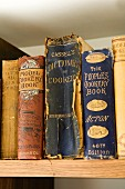 Antiquarian cookery books on shelf