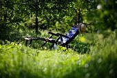 Lounger in garden