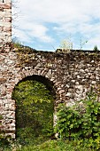 Arched doorway in castle wall