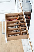 Cutlery drawer in a kitchen