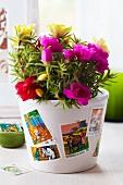 Blumentopf beklebt mit Briefmarken