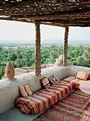 Hotel terrace with view of the Skoura oasis (Morocco)