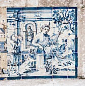 Azulejo; mosaic of ceramic tiles on palace wall (Lisbon, Portugal)