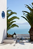 View from terrace in Sidi Bou Said of Gulf of Tunis