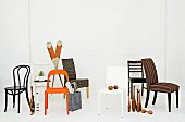 Various chairs and decorative objects