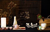 Organic ornaments: table lamp, tea service, candlesticks, basket, vases