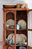 Antique cupboard with lattice doors