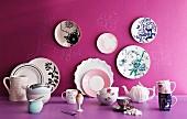 Various plates, cups, teapot, eggcups, saucers and jugs