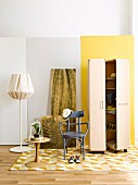 Wardrobe trunk on castors, bentwood chair, standard lamp, side table and bistro chair in cloakroom