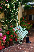 Antique bench amongst climbing roses and flowering geraniums in brick-paved courtyard at front of house