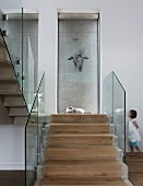 Stone steps with central strip of wooden treads and glass balustrade, drawing of animal on glass pane and little girl in background