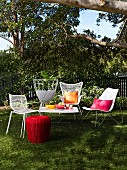 Garden furniture arranged for a summer party