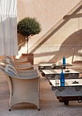 Terrace chairs & tables of Hotel Cap Rocat (Palma de Mallorca, Spain)