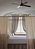 Canopied bed in Hotel Cap Rocat (Palma de Mallorca, Spain)