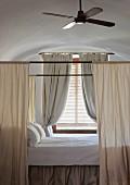 Canopied bed in Hotel Cap Rocat (Palma de Mallorca, Spain)