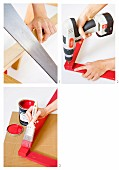 Woman's hands making a red wooden frame using a saw, cordless drill and paintbrush