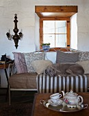 Dog on comfortable bench with white metal frame below window behind tea service on tray on coffee table