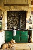 Hund vor Aga liegend in Landhausküche