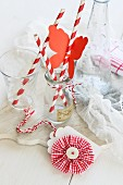 Craft idea for parties; paper butterfly on drinking straw